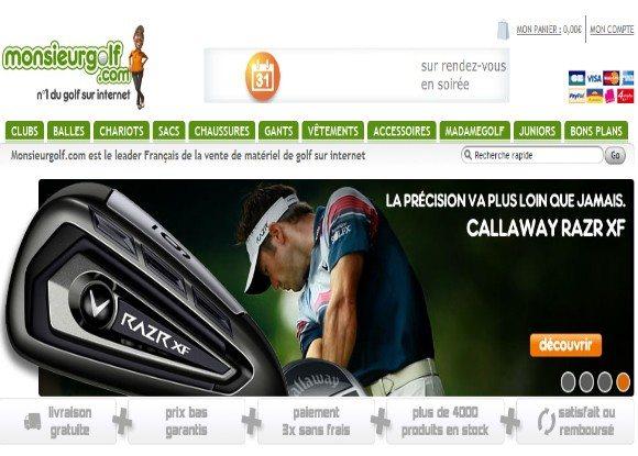 Monsieur Golf : 10€ de remise immédiate sur tout le site