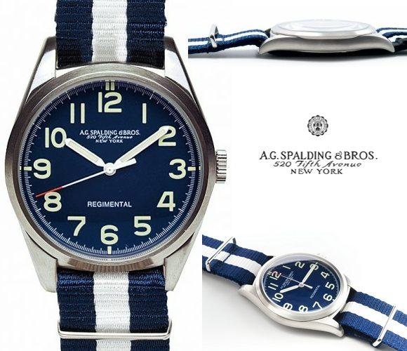 Montre bleue AG Spalding And Bros pour homme