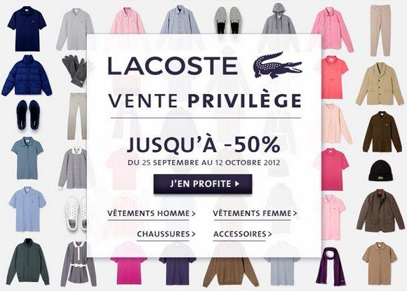 Vente Privilège Lacoste Jusqu'à -50% !!