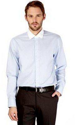 Chemise col blanc à rayures bleues Calvin Klein