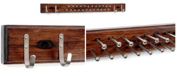 Porte Cravate bois et métal 24 picots 4 crochets