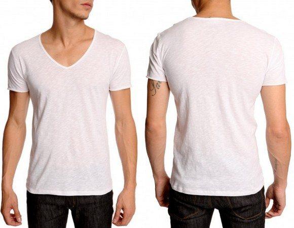 T shirt blanc col V American Vintage