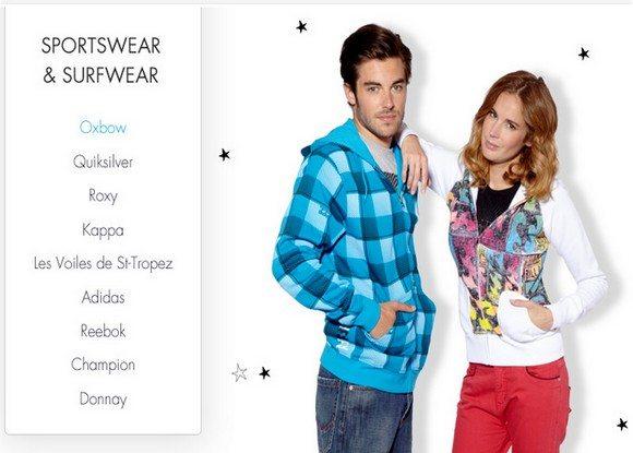 Vente Privée de Vêtements de style Sportswear et Surfwear