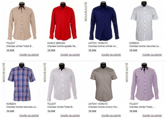Chemises en promotion chez Rue des Hommes