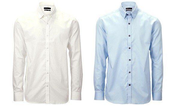 Chemise slim cintrée blanche et bleue Selected