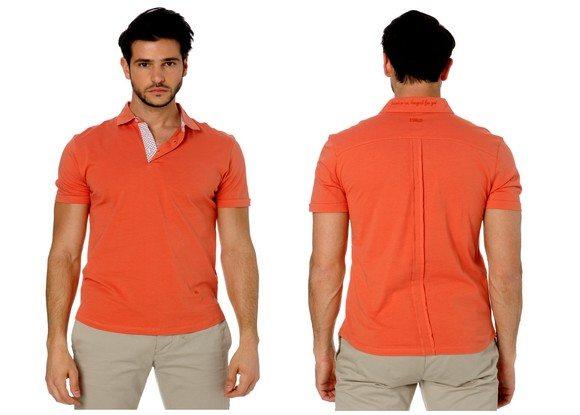 Polo manches courtes orange homme