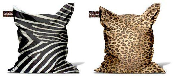 Pouf animaux zèbre guépard