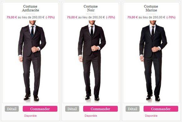 Costume homme prix discount