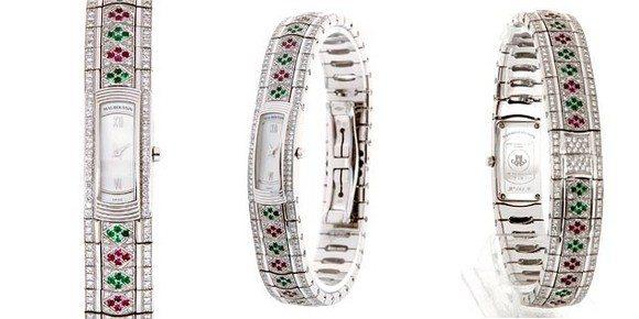 Montre Mauboussin Mini Lady M or blanc diamants emeraudes rubis