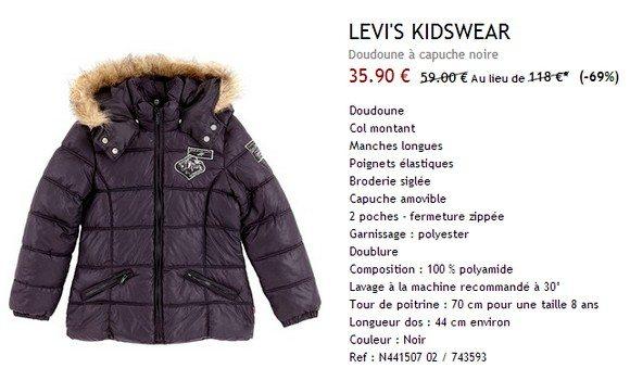 Doudoune enfant a capuche Levis Kidswear