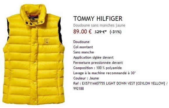 Doudoune jaune sans manche Tommy Hilfiger
