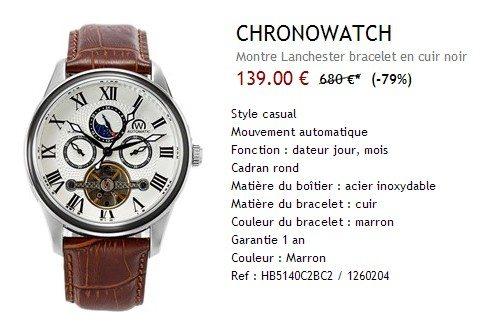 Montre Chronowatch marron en cuir