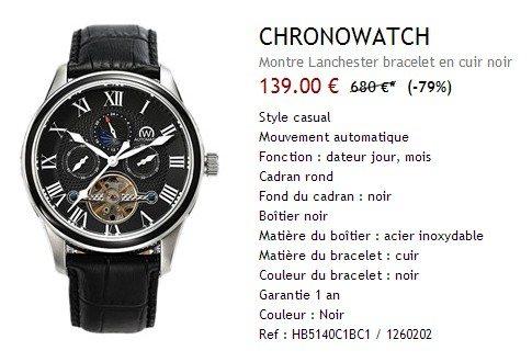 Montre Chronowatch noire en cuir