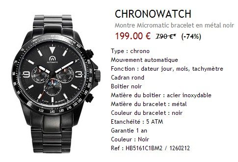 Montre Chronowatch noire en metal