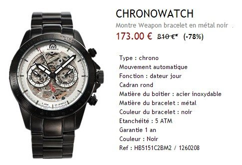 Montre Chronowatch noire