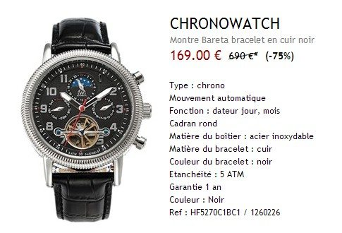 Montre automatique Chronowatch Bareta