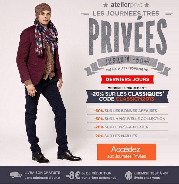 Coupons homme prive