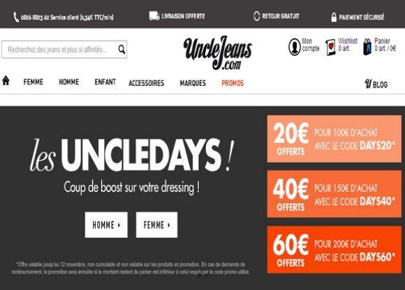 Code Promo Uncle Jeans Novembre 2013