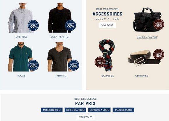 Soldes vetements et accessoires mode homme