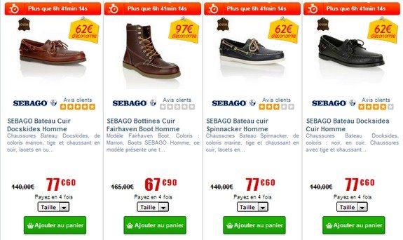 chaussures sebago pas cher