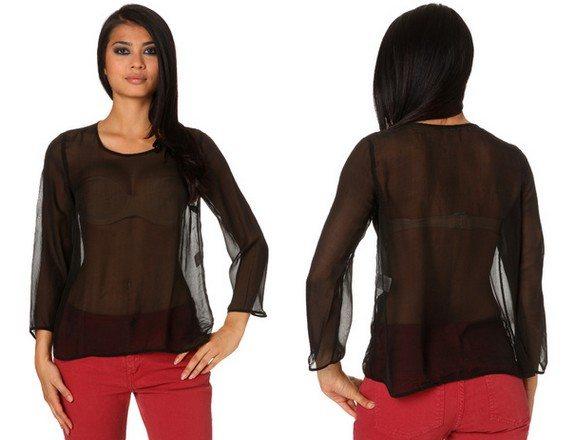 chemise femme en soie transparente