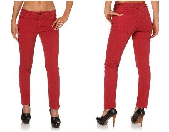 pantalon femme coton rouge