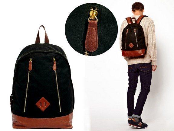 sac a dos en toile noir et marron