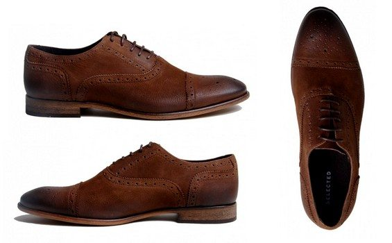 chaussures en cuir marron selected