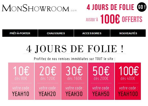 codes promos monshowroom avril 2014 mode pour homme blog monsieur mode. Black Bedroom Furniture Sets. Home Design Ideas
