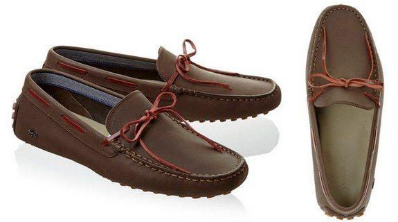 chaussures bateau marron lacoste