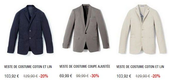 vestes de costume pas chères