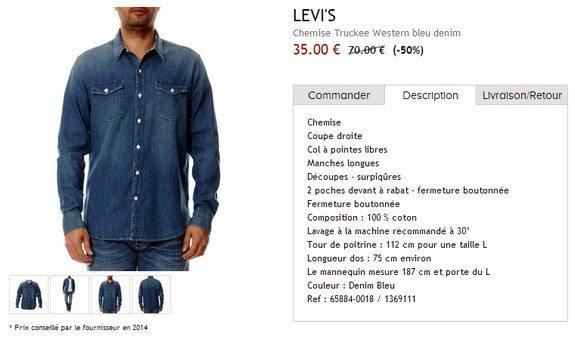 chemise en jean levis