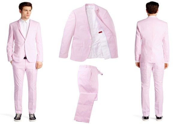 costume homme rose pale