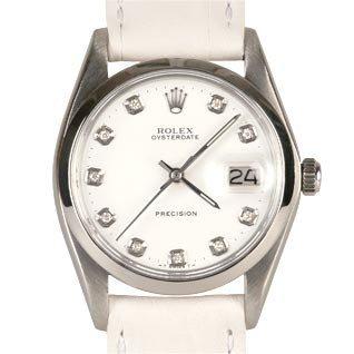 rolex precision 1972 blanche cuir diamants