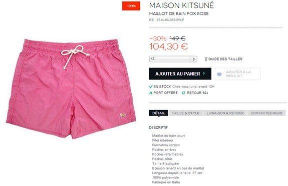 maillot de bain rose maison kitsune