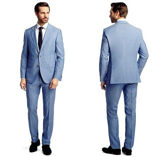 costume homme bleu clair en laine vierge hugo boss