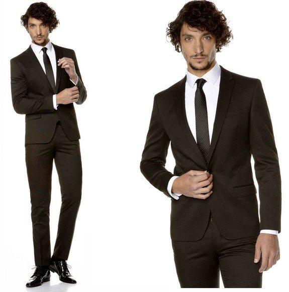 costume pour homme noir coupe ajustee celio
