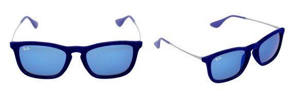 lunettes de soleil ray ban en plastique bleu