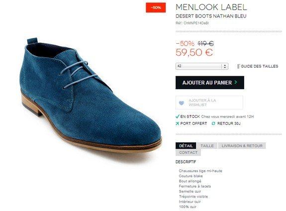 chaussures bleues menlook desert boots