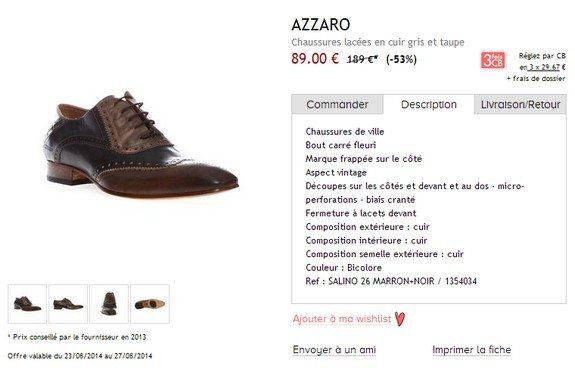 chaussures en cuir azzaro