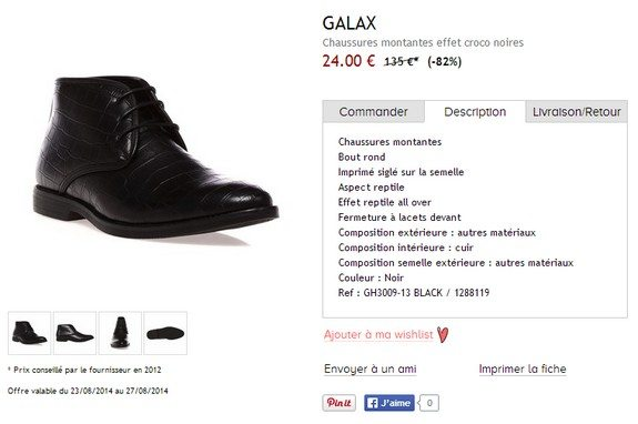 chaussures montantes noires galax