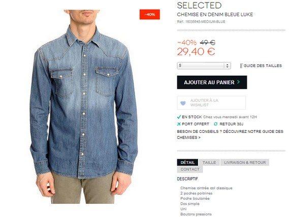 chemise en denim selected