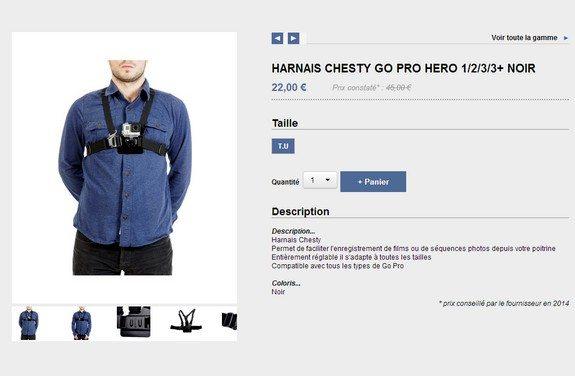 fixation harnais go pro hero