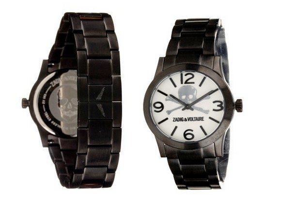 montre noire zadig et voltaire en acier