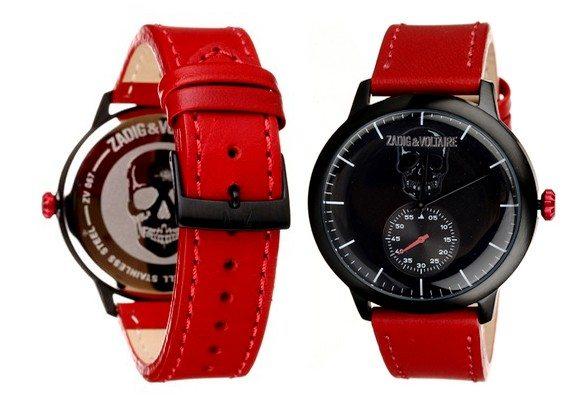 montre rouge et noire zadig et voltaire bracelet en cuir