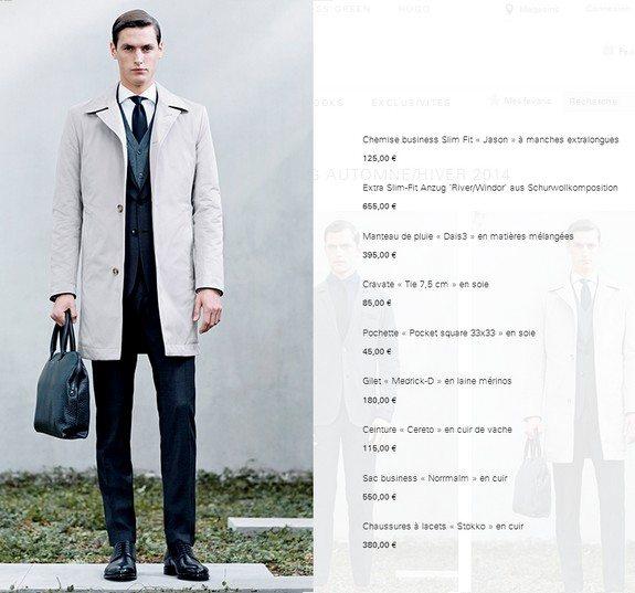 tenue homme hugo boss manteau de pluie sac business en cuir