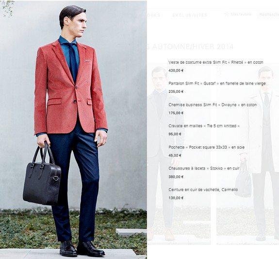 veste de costume rouge en coton hugo boss