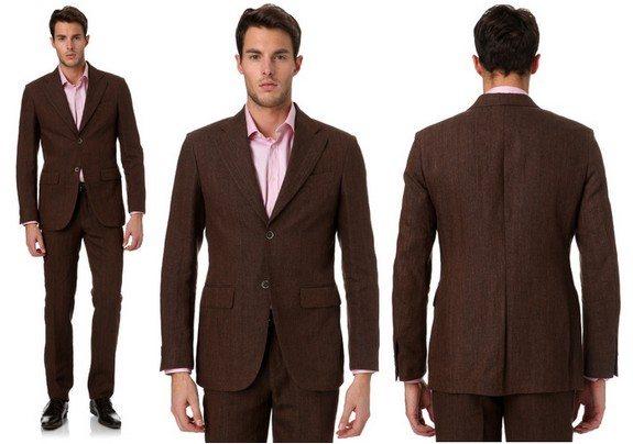 costume homme marron en lin lucas delli