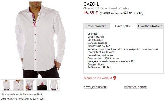 chemise blanche gazoil