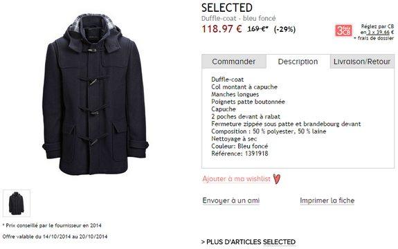 duffle coat selected bleu marine